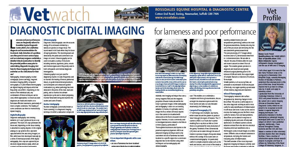 Diagnostic Digital Imaging for Lameness & Poor Performance