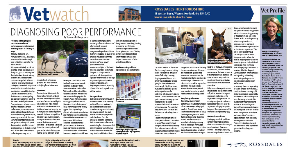 Diagnosing Loss of Performance